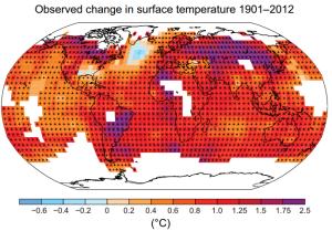 Осмотрена промена температуре од 1901. до 2012. године. Извор: IPCC (кликните за увећање)